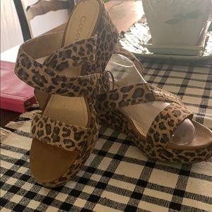 Leopard print wedge sandals